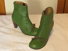 FLY LONDON FLY GIRL DESIGNER GREEN LEATHER ANKLE BOOTS UK 4 EUR 37 RRP £135