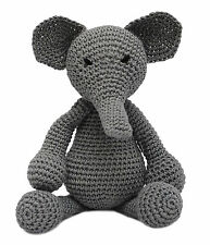 Gray Elephant Handmade Amigurumi Stuffed Toy Knit Crochet Doll VAC