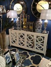 NEW STOCKTON MIRROR MIRRORED BUFFET SIDEBOARD CHEST WHITE WALL UNIT TABLE