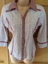 NEXT, 10, VGC, pink floral jersey fitted blouse top