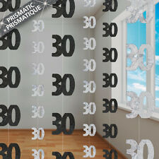 30th BIRTHDAY HANGING DECORATIONS - 6 PACK BLACK & SILVER PRISMATIC FOIL DECOR