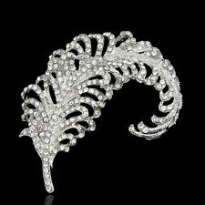 VINTAGE INSPIRED PLATINUM  PLATED CRYSTAL CLASSIC PEACOCK FEATHER   BROOCH