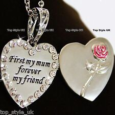 Mum Heart Necklace Silver Jewellery Xmas Gifts For Her Mother BLACK FRIDAY F4