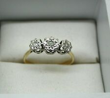 Circa 1930's Vintage Lovely 9ct Gold Three Stone Diamond Ring