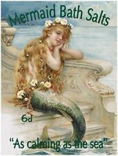 MERMAID BATH SALTS BATHROOM NOSTALGIC VINTAGE SIGN RETRO PLAQUE SHABBY CHIC 110