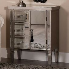 Mirrored Chest Drawer Furniture Vintage Storage Cabinet Cupboard Silver Wood New