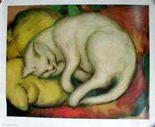 Kunstdruck Poster Katze auf gelbem Kissen von Franz Marc unbenutzt 50x40cm +Rand