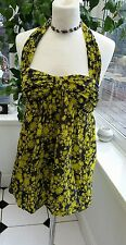 FRENCH CONNECTION SIZE 10 YELLOW & GREY FLORAL LADIES TOP BACKLESS