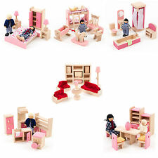 Mamakiddies Pink Wooden Doll House Furniture Set of 6 Rooms, 4 Family Dolls