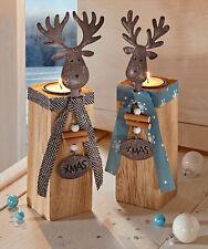 2 Teelichthalter Kerzenständer Metall Elch HOLZ  XMAS Weihnachtsdeko Weihnachten
