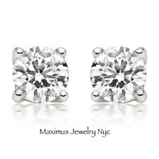 1CT Round Solitaire Natural Diamond Screw Back Stud Earrings 14K White Gold