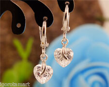 Sparky Pair Silver Plated Clear Cubic Zirconia Heart Drop Dangle Hoop Earrings