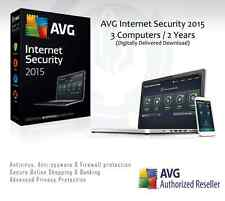 AVG Internet Security 2015 - 3 Computers / 2 Years Protection | License Key Only