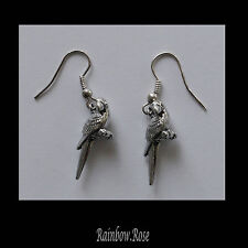 Pewter Earrings #257 LITTLE PARROT 25mm - Silver Tone Bird Animal Series
