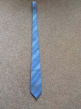 Vintage 1990s Marks & Spencer  mens blue grey diagonal stripe tie