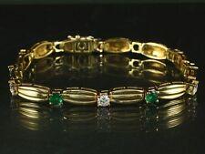 Kostbares Smaragd Armband mit 6 Brillanten 1,31ct (Gravur)  18,2g 750/- Gelbgold
