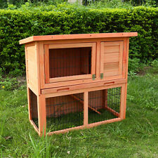 3FT OUTDOOR RABBIT HUTCH RUN WOODEN GUINEA PIG BUNNY PET HOUSE GARDEN CAGE LOCAL