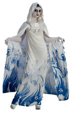 LADIES GHOST WHITE GHOUL DRESS & HOODED CAPE HALLOWEEN COSTUME OUTFIT NEW 12-14