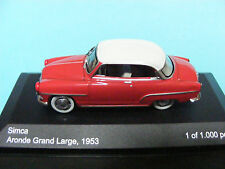 Simca Grand Large 1953 in  Red/ White a 1:43RD Scale Whitebox Collectors Model