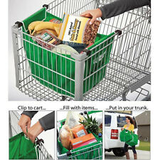 As Seen On Tv Grab Bag Clip-To-Cart Reusable Grocery Shopping Bags Pack of 2