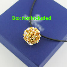 18k Gold GF solid wire ball Swarovski crystals elements pendant leather necklace