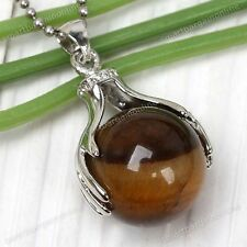 Natural Tiger's Eye Stone Hand Palm Wrap Round Bead Dangle Pendant For Necklace