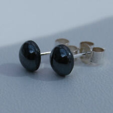 Hematite 6MM Cabochon cut Gem and Sterling Silver ear studs.
