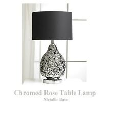 Metallic / Chrome - Rose Base Table Lamp - High Gloss - Matching Shade Included