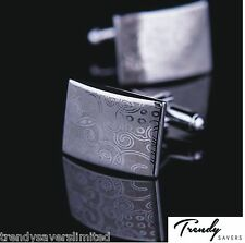 Engraved Sterling Silver Plated Jewellery Shirt Cufflinks Pair Men's Gift #14