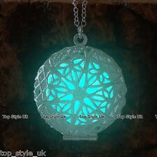 Aqua Glow in the Dark Necklace Glowing Circle Pendant Gift for Girl Friend Mum