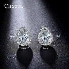 Elegant Women Sparkling Teardrop Pear CZ Ear Stud Heart Earrings Gold GP Jewelry