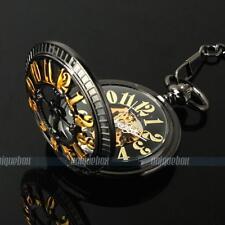 Kette Bronze Herren Handaufzug Taschenuhr Mechanisch Automatikuhr Exquisite Uhr