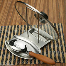 Stainless Steel Pan Stand Pot Cover Rack Lid Spoon Rest Holder Kitchen Tool New