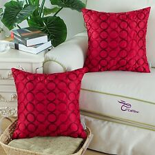 2Pcs Cushion Covers Pillows Case 45cm Chain Embroidery Rings Faux Silk Deep Red