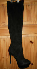 Ladies  Knee High Faux Suede Platform Boots BLACK Size EU 45