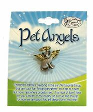 Cat Angel Memorial Lapel Pin Gold Electroplated Halo Wings (PET106)