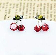 Cute Stud Earrings Cherry 18K Gold GP Red Swarovski Crystals CZ Jewellery New