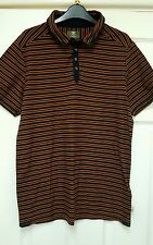Men's DESIGNER TIMBERLAND polo shirt TOP M SLIM FIT RUSTY ORANGE BLUE
