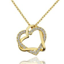 New 18K Gold Filled Women's Love Heart Pendant Necklace With Swarovski Crystal