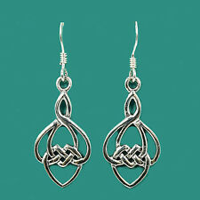 Classical Celtic Knot Sterling Silver Drop Earrings 925 - Scottish Irish Gift