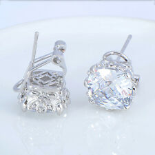 11mm Square White Zircon Silver Filled Clip-on Stud Earring Transfix Women