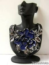 STATEMENT CHUNKY VINTAGE STYLE ENAMEL FLOWER FAUX CRYSTAL BIB NECKLACE NAVY