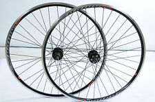 PAIR 700c (622 x 13) DISC HUB CYCLO CROSS BIKE WHEELS 8 / 9 SPEED CASSETTE BLACK
