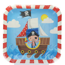Pack Of 8 Children's Birthday Party Blue Pirate Square Paper Plates 23cm