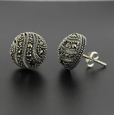 Sterling Silver Marcasite Vintage Style 13mm Round Dome Stud Earrings RRP $90