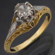 Genuine Antique CUSHION CUT DIAMOND 18K Solid Yellow GOLD ENGAGEMENT RING Sz M