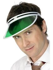 Green Sun Visor Croupier Poker Casino Party Golf 80s Ladies Mens Fancy Dress