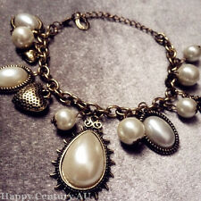 Bronze Chain Synthetic Pearl Pendant Bracelet Lady Fashion Jewelry JBRAC0901