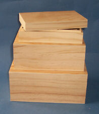 Set of 3 sizes New Pine Wooden Storage Gift box with drop on lids