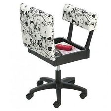 Horn Gaslift Sewing Chair - Black and White Fabric, Storage Compartment, Craft